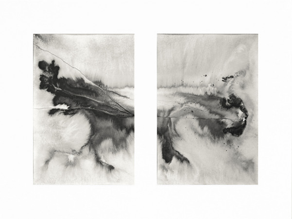 ink & water on paper - 14 x 20,8 cm (each parts) - 2020 - only available with frame (30 x 40 cm)