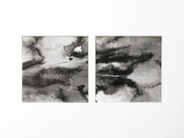 ink & water on paper - 10 x 10 cm (each parts) - 2020 - only available with frame (21 x 30 cm) - reserved